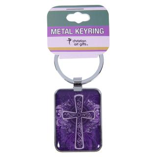 KEYRING:PURPLE CROSS