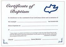 CERTIFICATE ADULT BAPTISM : BLUE DOVE