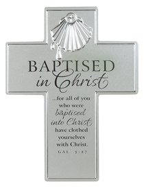 BAPTISM CROSS : SILVER SATIN METAL