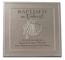 BAPTISM PLAQUE : SILVER SATIN METAL