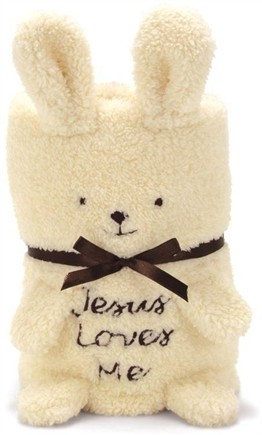 BUNNY BABY BLANKIE WITH JESUS LOVES ME
