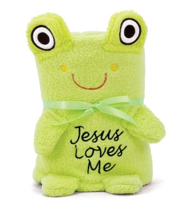 FROG BABY BLANKIE WITH JESUS LOVES ME