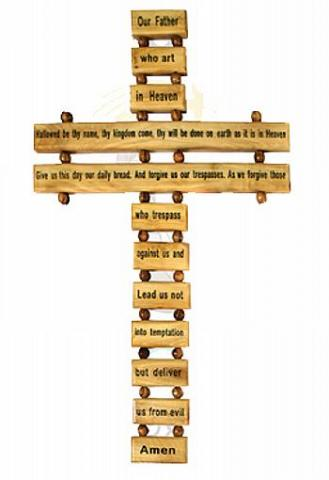 CROSS:LORDS PRAYER OLIVE WOOD