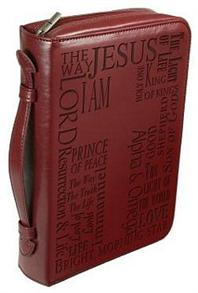 BIBLE COVER: NAMES OF JESUS MED BURGUNDY