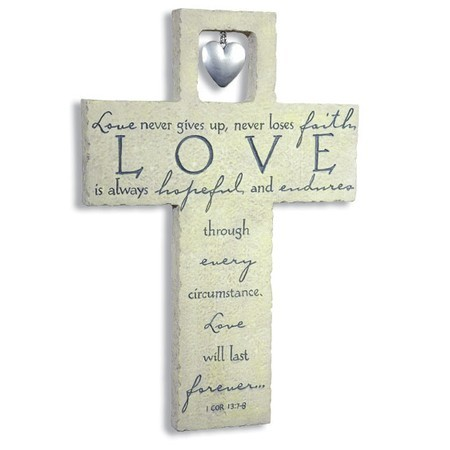 LOVE IS… RESIN WALL CROSS WITH HEART C