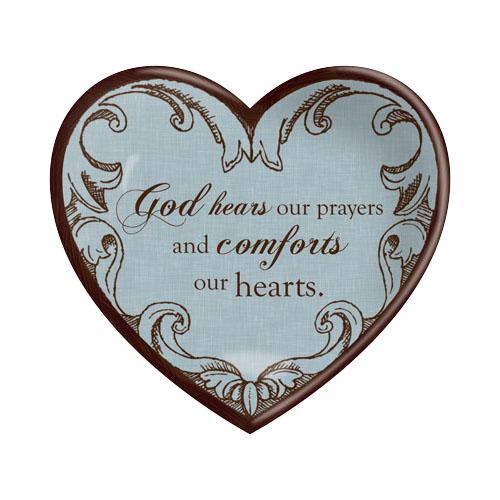 CERAMIC HEART PLAQUE: GOD HEARS