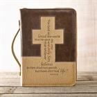 BIBLE COVER:FOR GOD SO LOVED BROWN