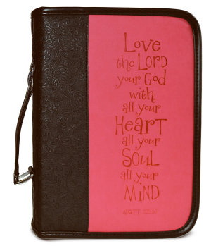 BIBLE COVER LGE BLACK/PINK LOVE THE LORD