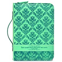 BIBLE COVER:THY COMFORTS TEAL GREEN