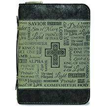 BIBLE COVER:NAMES OF JESUS BLACK/GREY