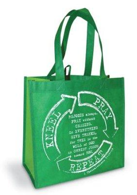 TOTE BAG: KNEEL PRAY REPEAT GREEN