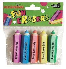 ERASER PACK 5: PENCIL SHAPE:JESUS LOVES