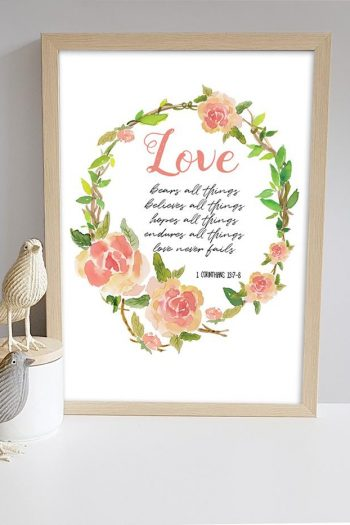 FRAMED PRINT: LOVE BEARS ALL THINGS