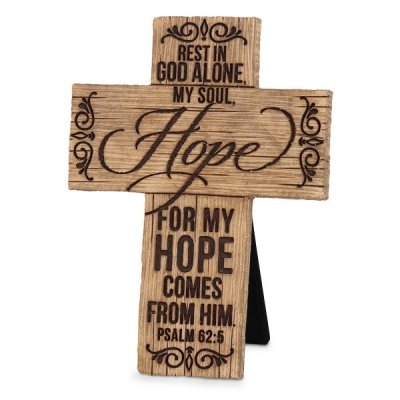 CROSS: CAST STONE, WOOD GRAIN-HOPE