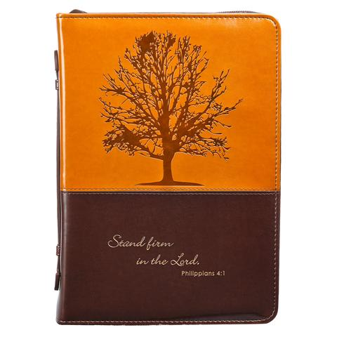 BIBLE COVER: TWO TONE BROWN TREE LGE