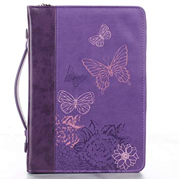 BIBLE COVER: BUTTERFLY PURPLE MED