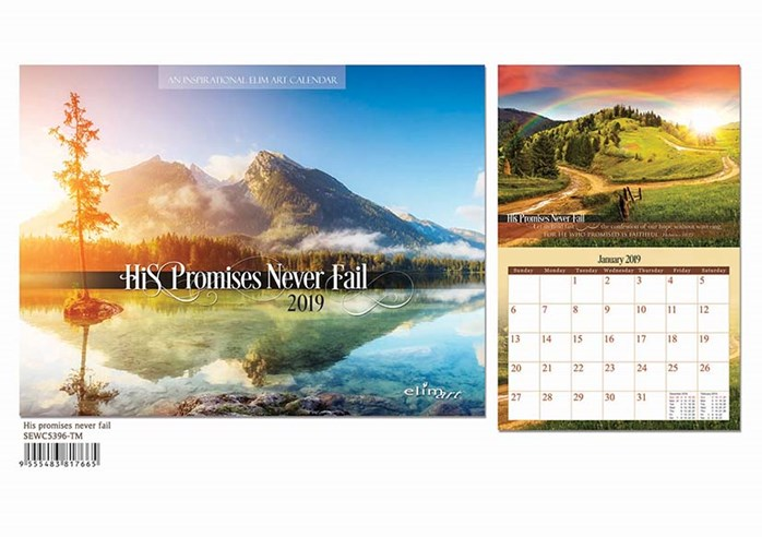 2019 WALL CALENDAR: HIS PROMISES NEVER F