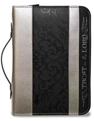 BIBLE COVER : BLACK/SILVER TRUST LGE