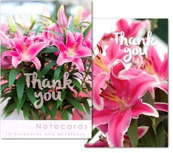 NOTE CARDS- PINK LILY ARRANGEMENTS