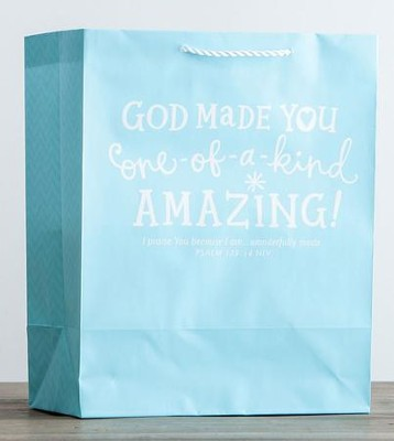 GIFT BAG LGE: LIGHT BABY BLUE PSALM 139