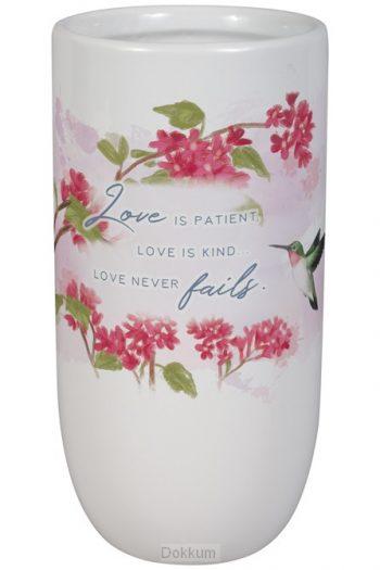 CERAMIC VASE: LOVE IS PATIENT, FLORAL/WHITE