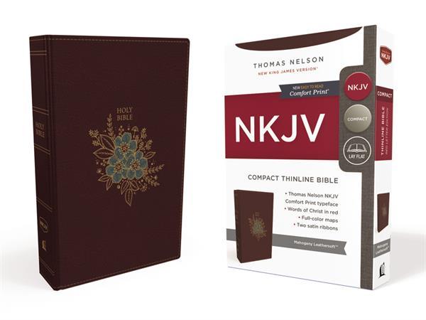 NKJV THINLINE BIBLE COMPACT BURGUNDY