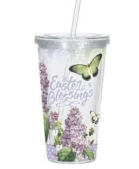 CLEAR STRAW CUP: EASTER BLESSINGS GREEN